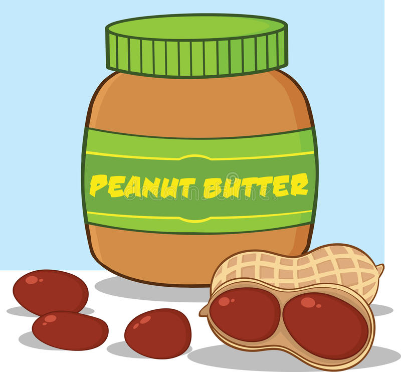Cartoon Peanut Butter Jar With Peanuts royalty free illustration