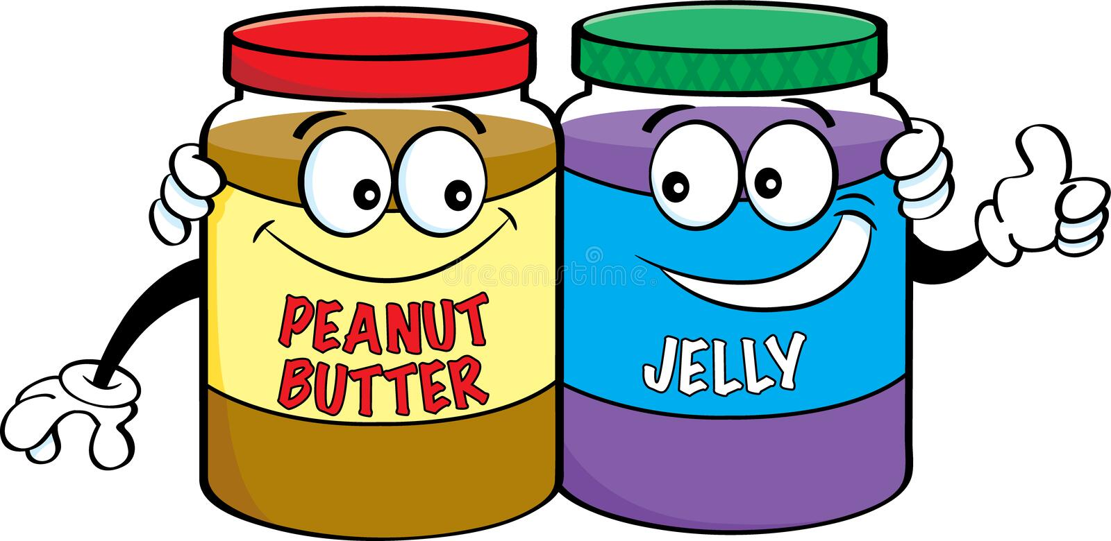 Cartoon peanut butter and jelly jars. stock illustration