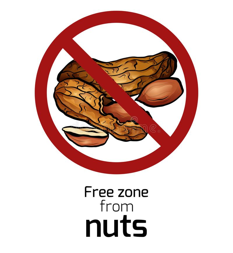 Cartoon peanut in the prohibition sign. Free zone from nuts. Ban on allergens. Allergy Alert. Badges with forbiddance. Vector element for recipes, menus vector illustration