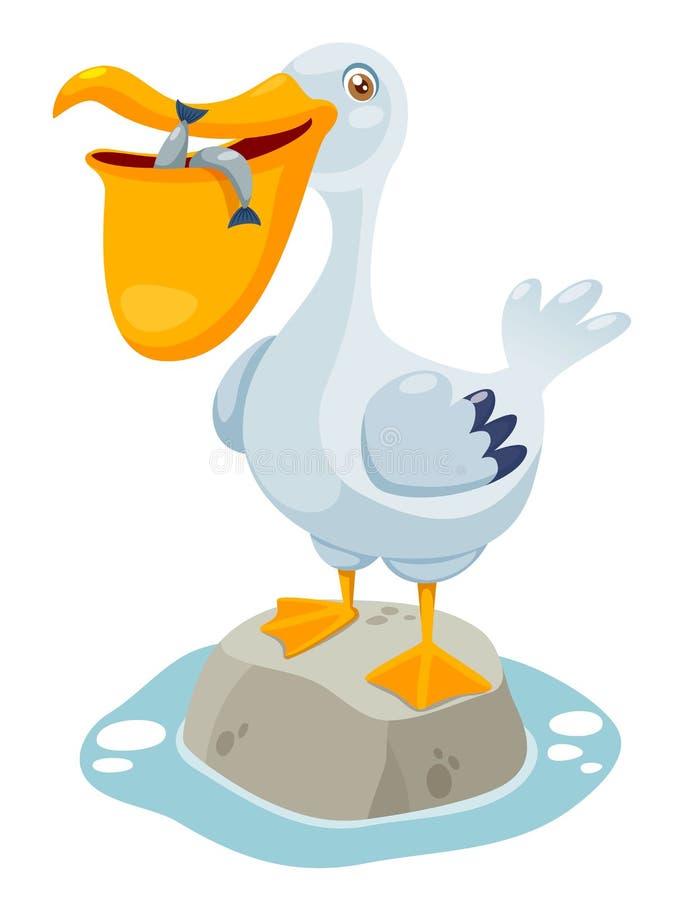 Cartoon pelican royalty free illustration
