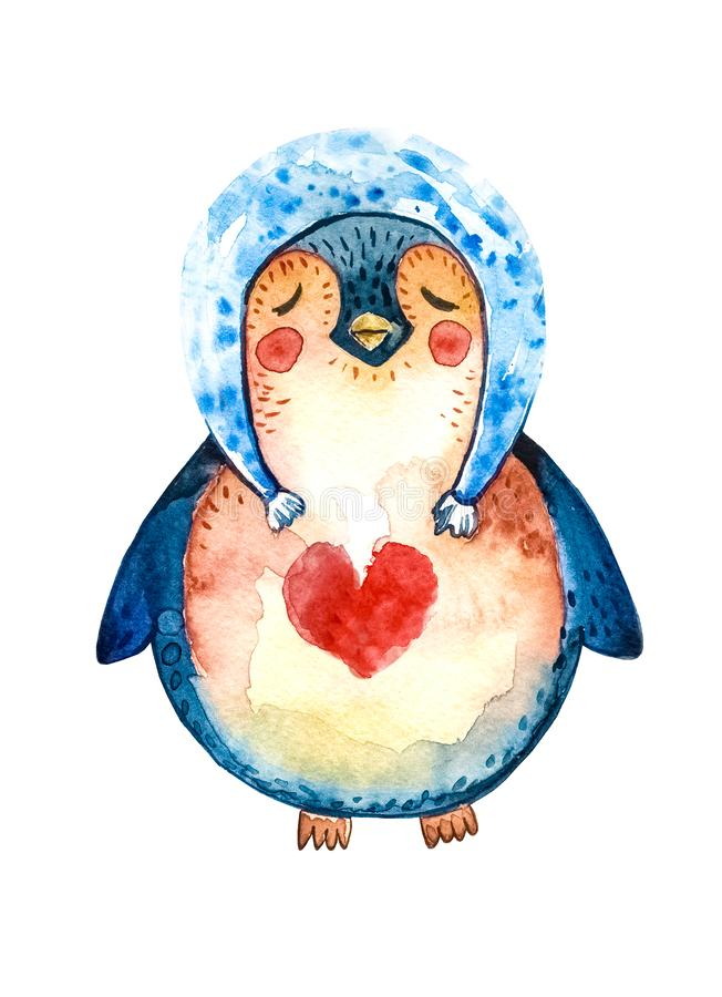 Cartoon penguin in a blue hat and a red heart on his chest, closed his eyes and dreams of love. White background. Isolated object. Illustrations royalty free illustration
