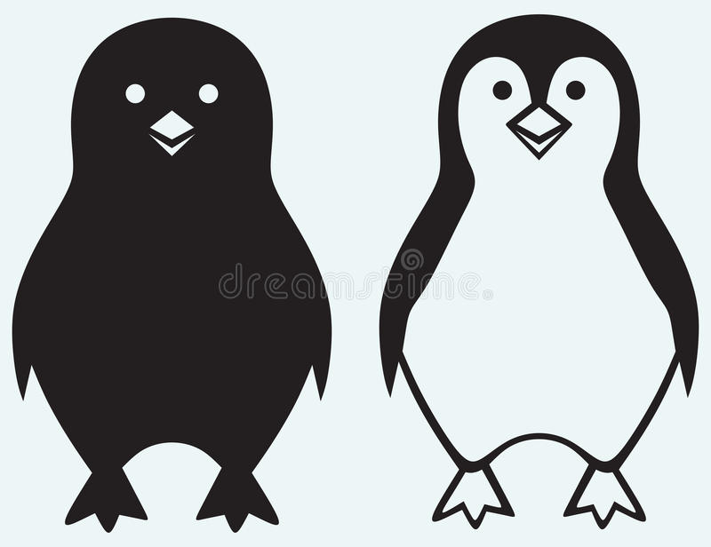 Cartoon penguin. Isolated on blue background vector illustration