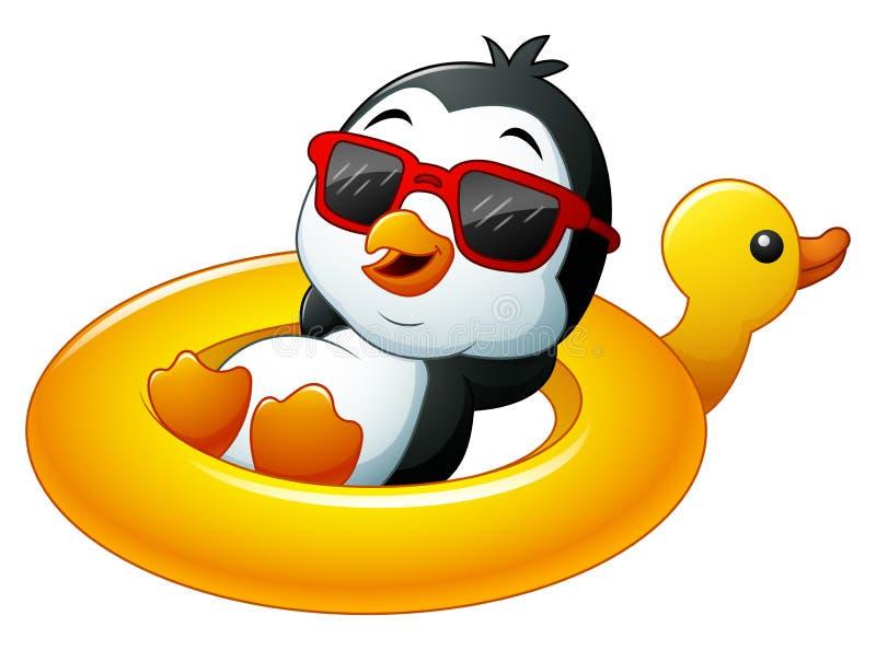 Cartoon penguin in summer straw hat. Illustration of Cartoon penguin in summer straw hat vector illustration