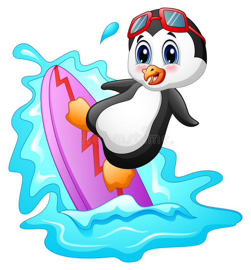 Cartoon penguin surfing on water stock illustration