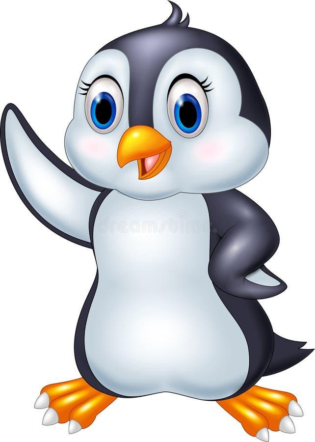 Cartoon penguin waving isolated on white background. Illustration of Cartoon penguin waving isolated on white background royalty free illustration