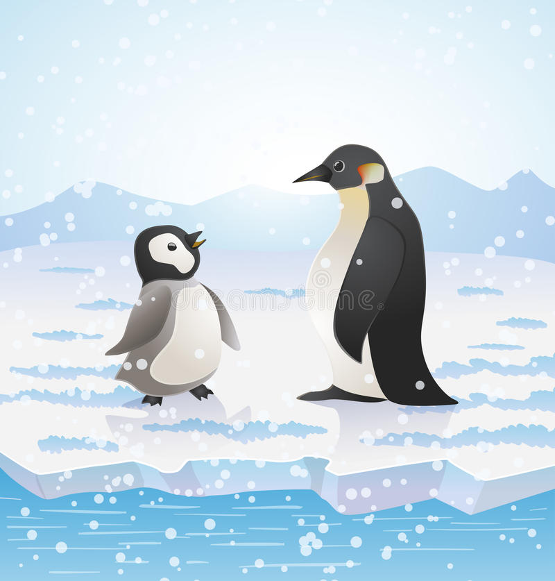 Cartoon penguins on icy landscape. vector royalty free illustration