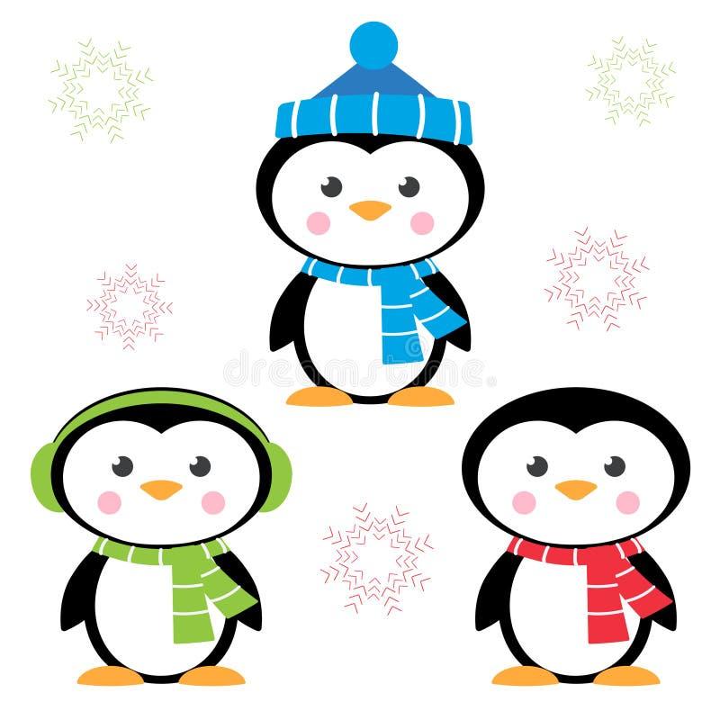 Cartoon penguins isolated on white vector illustration