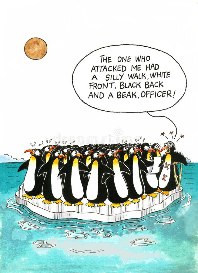 Cartoon about penguins' resemblance stock illustration