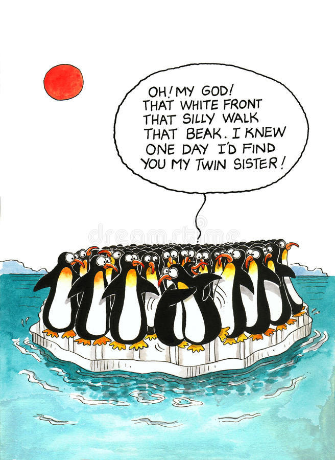 Cartoon about penguins' resemblance. Cartoon gag with a speech balloon about penguins' resemblance stock illustration