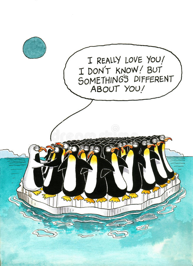 Cartoon about penguins' resemblance vector illustration