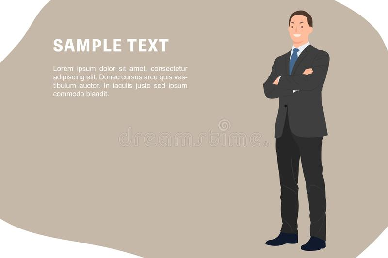 Cartoon people character design banner template businessman in dark gray suit while standing with smiling face and crossed arms royalty free illustration