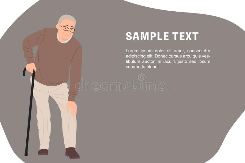 Cartoon people character design banner template senior man having a knee pain and standing with a walking cane stock illustration