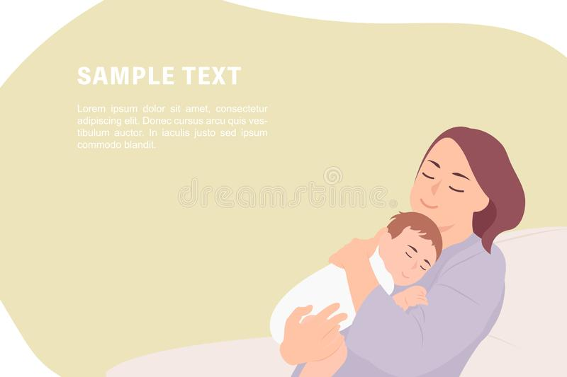 Cartoon people character design banner template young mother holding sleeping baby vector illustration