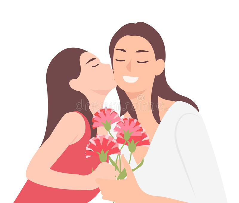 Cartoon people character design happy mothers day child daughter kissing mom and giving her carnation flower as a present royalty free illustration