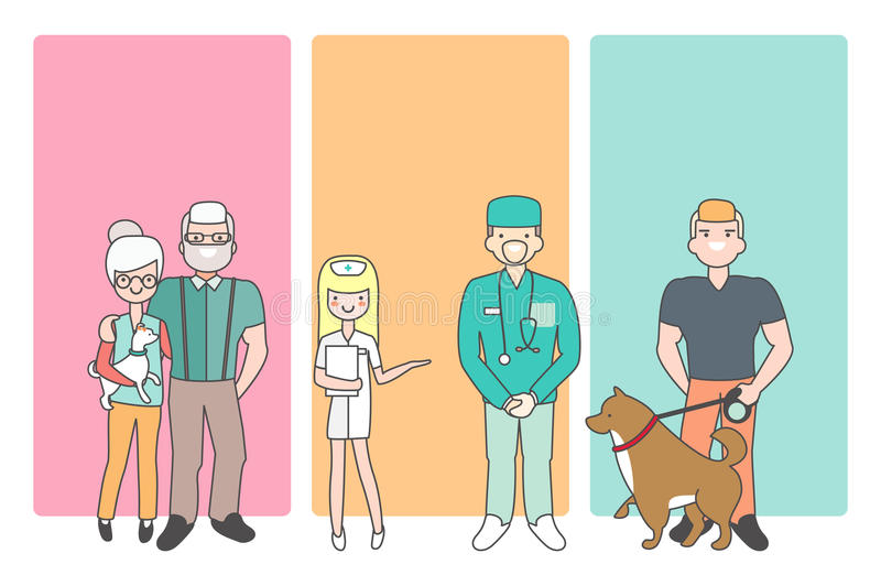Cartoon people characters bring pets in veterinary clinic for vet examination. Vector illustration in linear style. Design. Animal doctor and nurse. Customers vector illustration