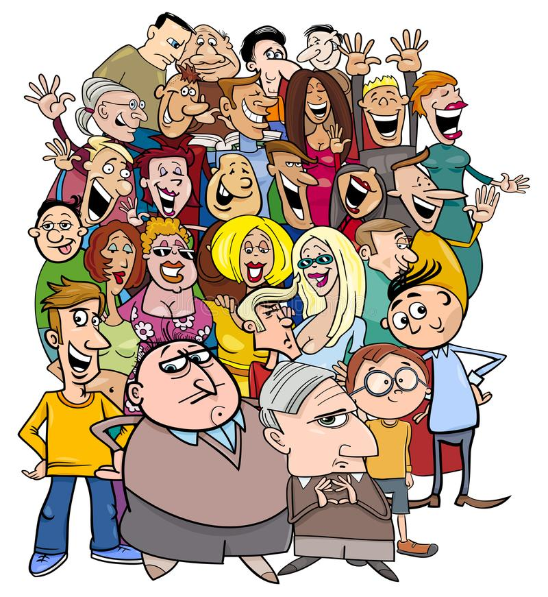 Cartoon people characters in the crowd vector illustration