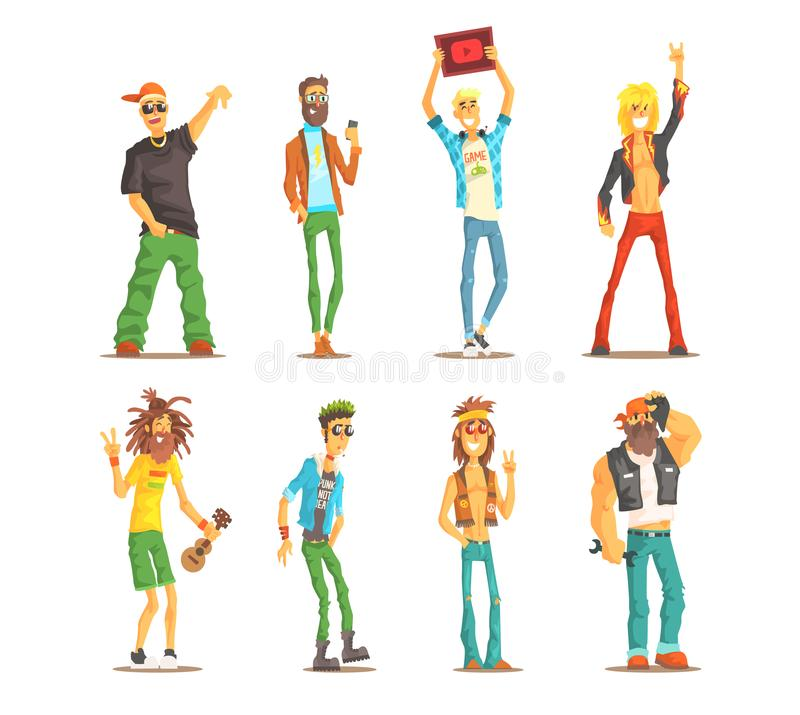 Cartoon people characters of different subcultures. Young guys and adult men`s with cultural attributes. Flat vector set royalty free illustration