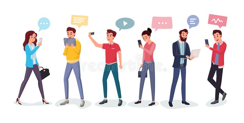 Cartoon people chatting via internet. Men and women using modern gadgets vector illustration. Girls and boys typing messages, making video translation, talking stock illustration