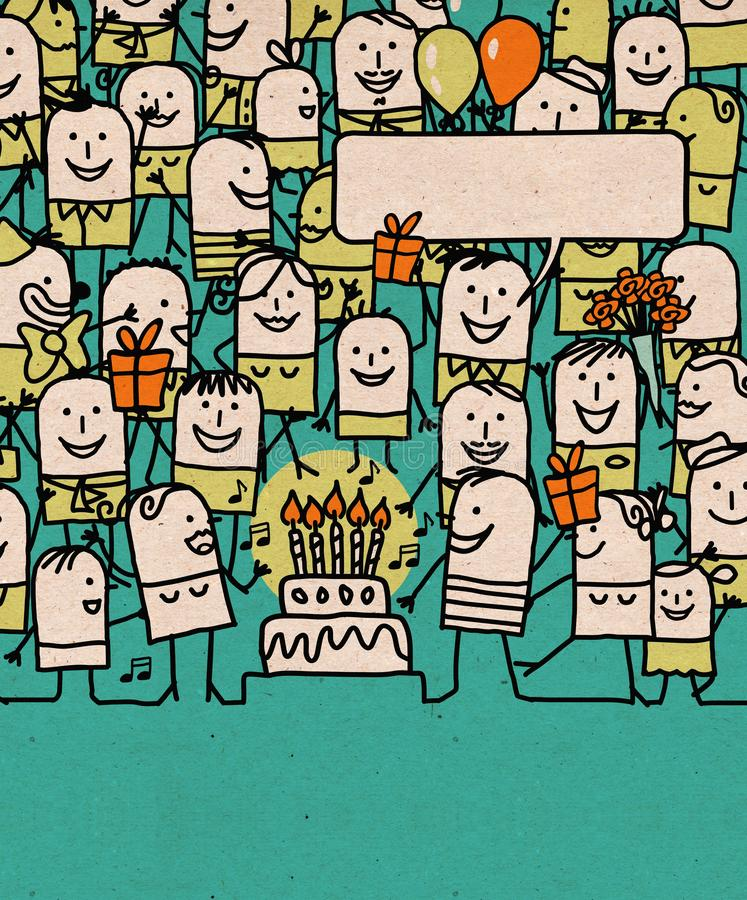 Free Cartoon People Crowd And Happy Birthday Time Stock Photos - 141881943