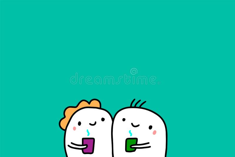 Cartoon people hand drawn vector illustration. Holding cups with hot drink. Coffee royalty free illustration