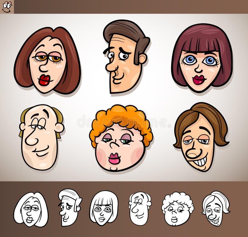 Cartoon People Heads Set Illustration Royalty Free Stock Image