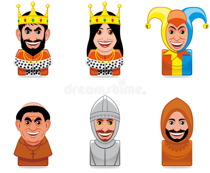Cartoon people icons (middle ages). Set of six Cartoon people icons (middle ages stock illustration