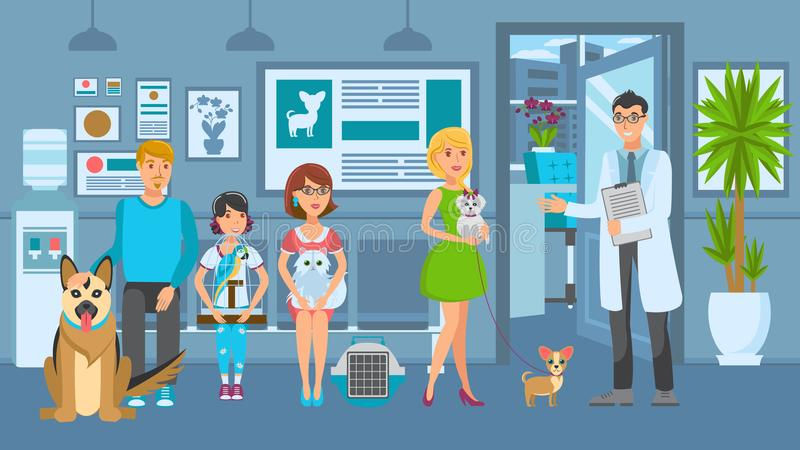 Cartoon people with ill pets sit at reception royalty free illustration