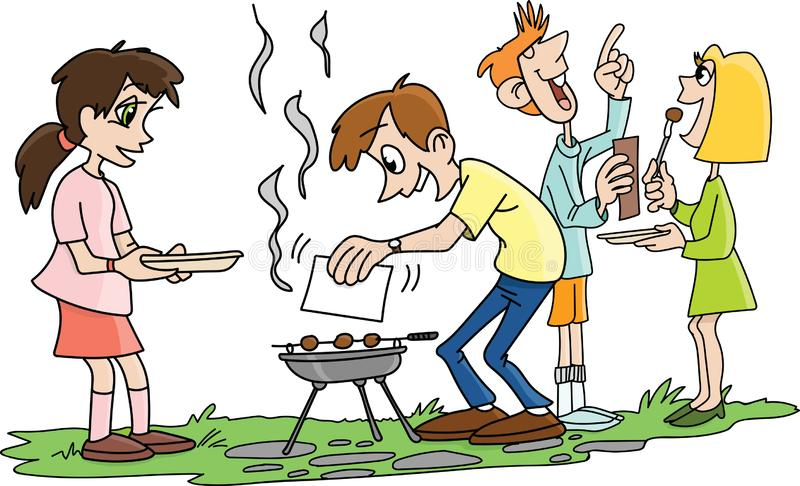 Cartoon people making barbecue and chatting in the garden vector. Illustration stock illustration