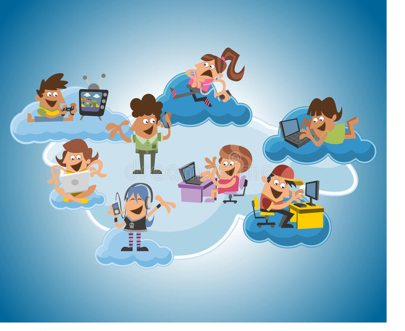 Cartoon people over cloud computing. Group of cute happy cartoon people over cloud computing vector illustration