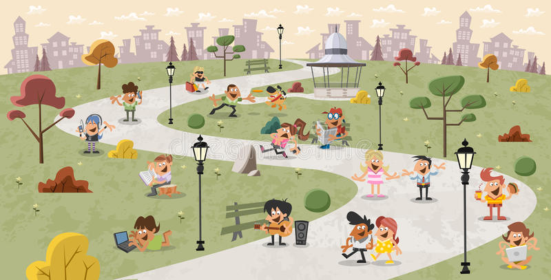 Download Cartoon people in the park stock vector. Image of park - 54084672