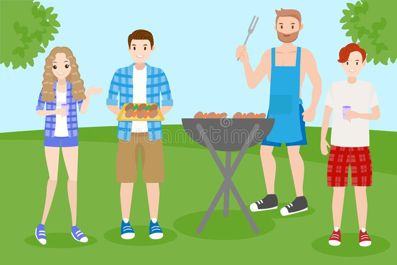 People with bbq party. Cartoon people on picnic with bbq party stock illustration