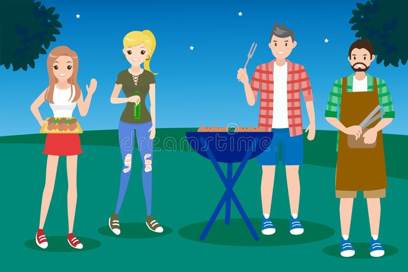 People with bbq party. Cartoon people on picnic with bbq party royalty free illustration