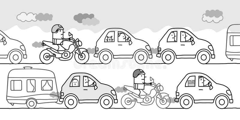 Cartoon people in a polluted traffic jam vector illustration