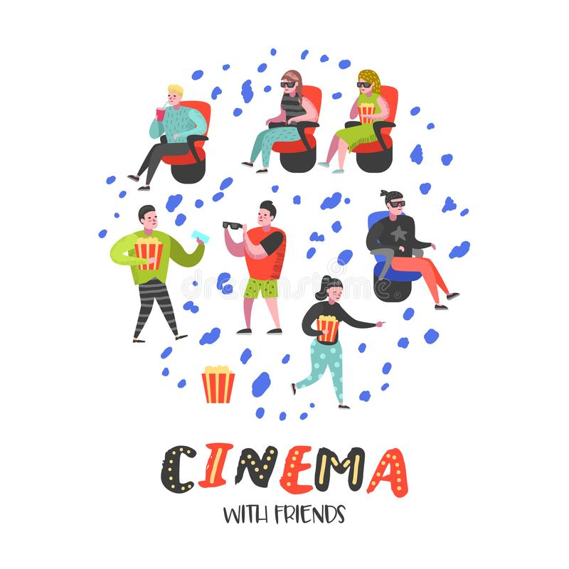 Cartoon People with Popcorn and Soda Watching Movie in the Cinema. Man and Woman Characters in 3d Glasses stock illustration