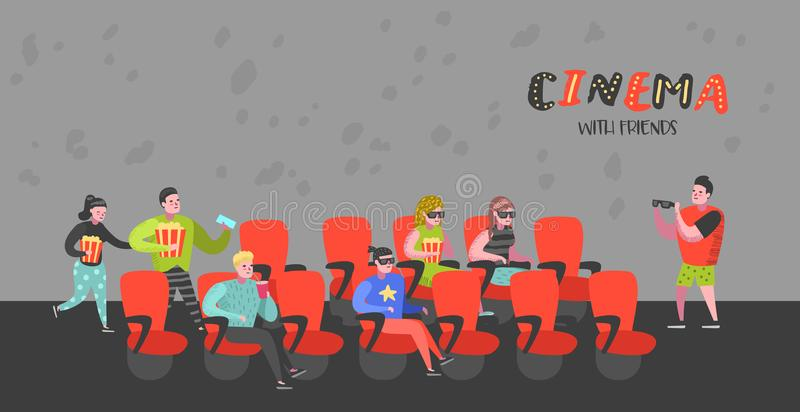 Cartoon People with Popcorn and Soda Watching Movie in the Cinema Seats Poster. Man and Woman Characters in 3d Glasses royalty free illustration