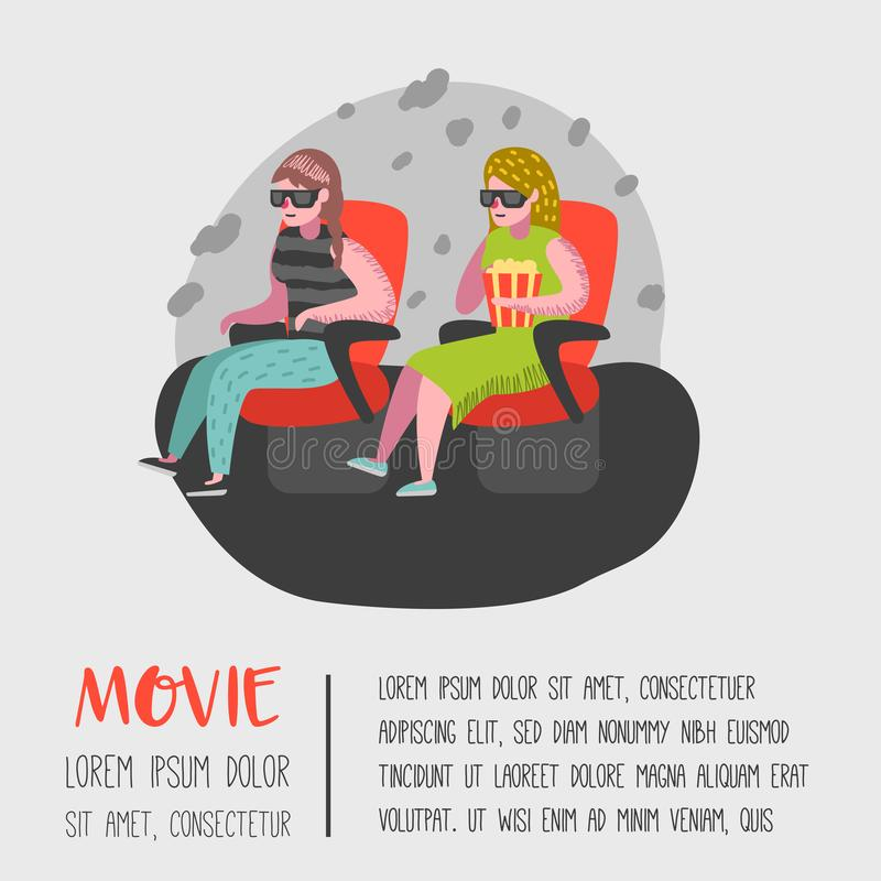 Cartoon People with Popcorn Watching Movie in the Cinema Seats Poster. Woman Characters in 3d Glasses stock illustration