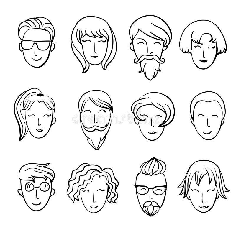 Cartoon people's heads. Characters design stock illustration