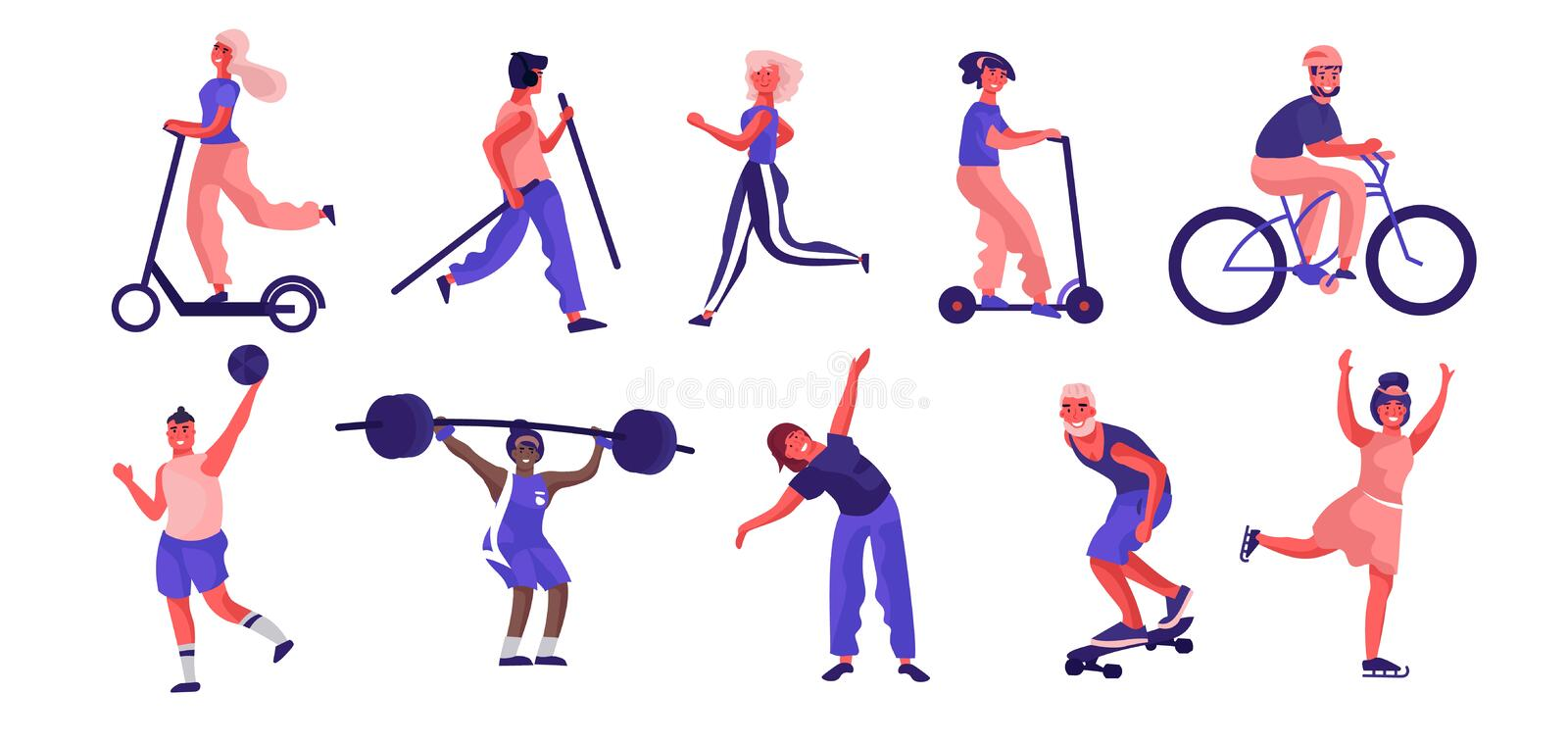 Cartoon people sport activities. Trendy flat characters running riding playing and doing workout royalty free illustration