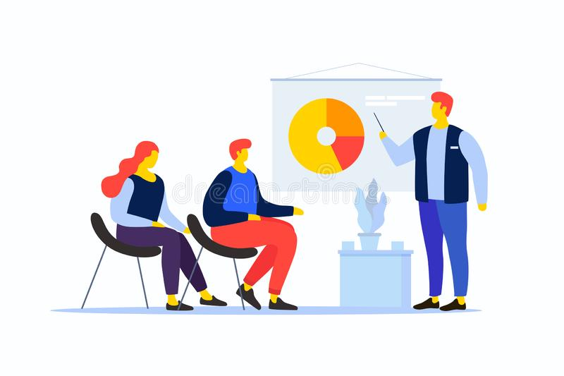 Cartoon people in the team are looking at the pie chart. The young man speaks with his colleagues. Workflow management and data analysis. Vocational training royalty free illustration