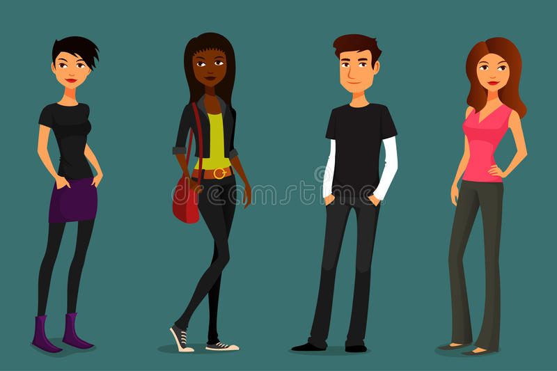 Cartoon people in various outfits royalty free illustration