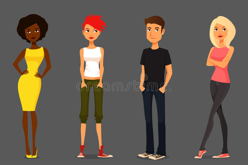 Cartoon people in various outfits stock illustration