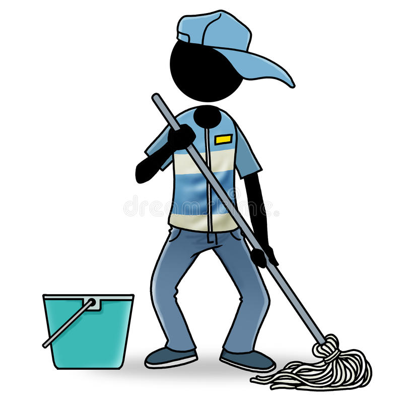Cartoon People At Work Icon - Cleaner Stock Photography