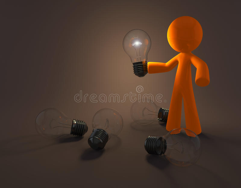 Download Cartoon Person With Light Bulb Stock Illustration - Illustration of character, power: 12066613