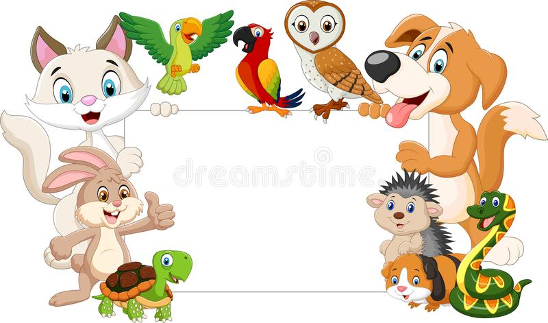 Cartoon pets with blank sign. Illustration of Cartoon pets with blank sign vector illustration