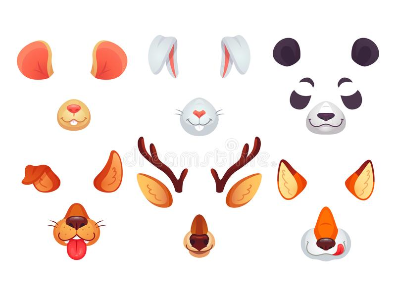 Cartoon phone masks. Funny animals ears, tongue and eyes. Brown dog bunny red fox panda bear mouse and deer mask. Animal stock illustration
