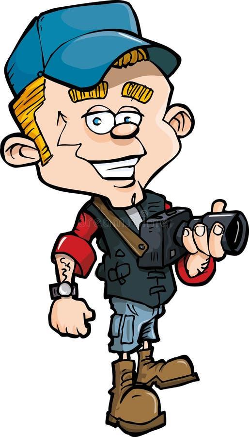 Cartoon photo journalist with a camera