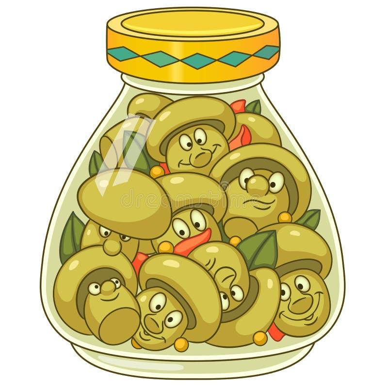 Cartoon pickled champignon mushrooms royalty free illustration