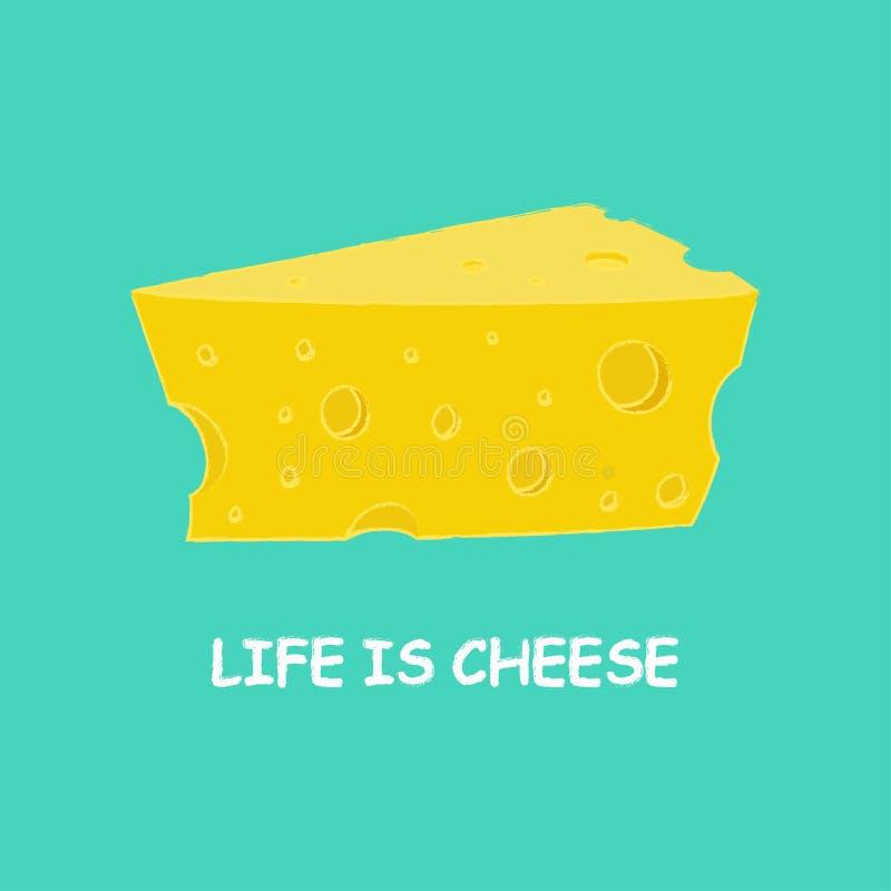 Cartoon piece of cheese vector illustration