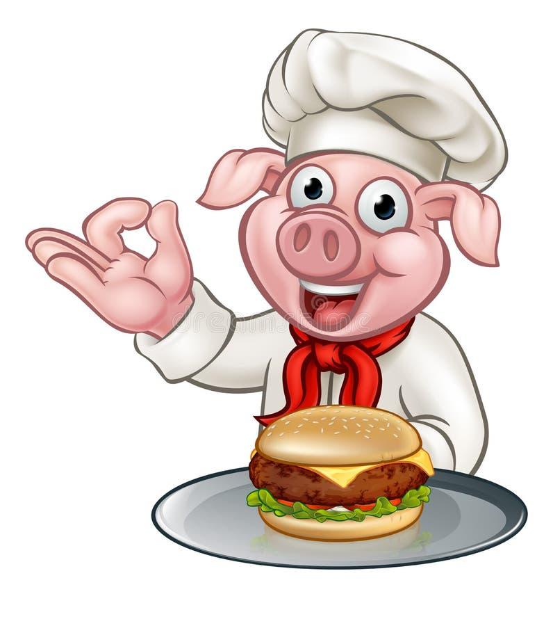Cartoon Pig Chef Holding Burger. A pig chef holding a cheese burger or hamburger on a plate cartoon character royalty free illustration
