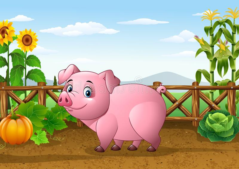 Cartoon pig with farm background stock illustration